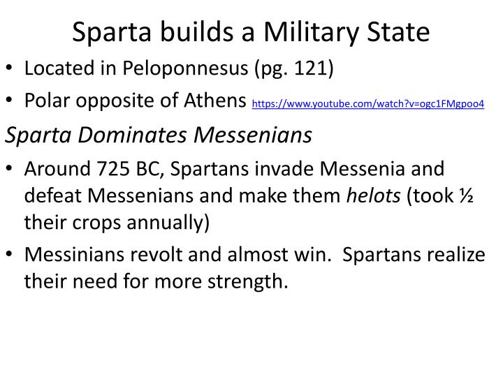 Sparta builds a Military State