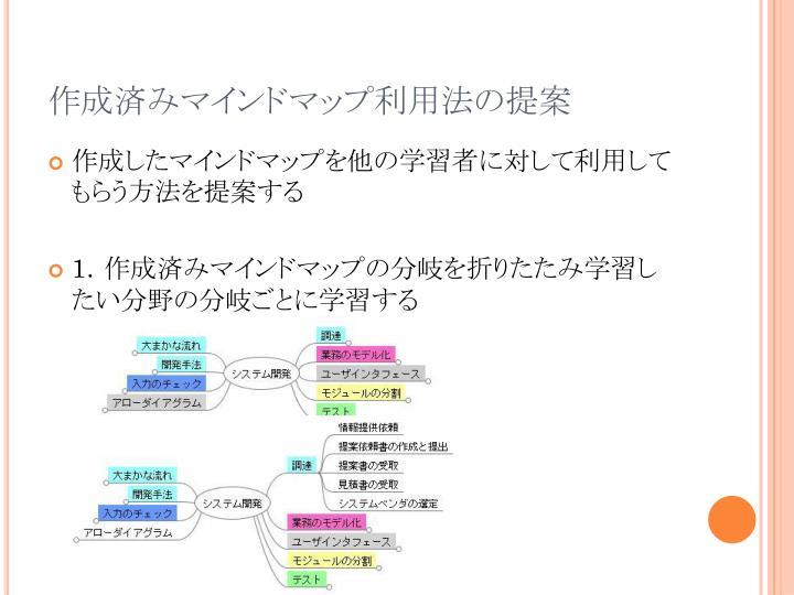 作成済みマインドマップ利用法の提案