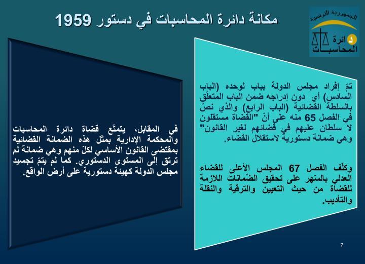 مكانة دائرة المحاسبات في دستور 1959