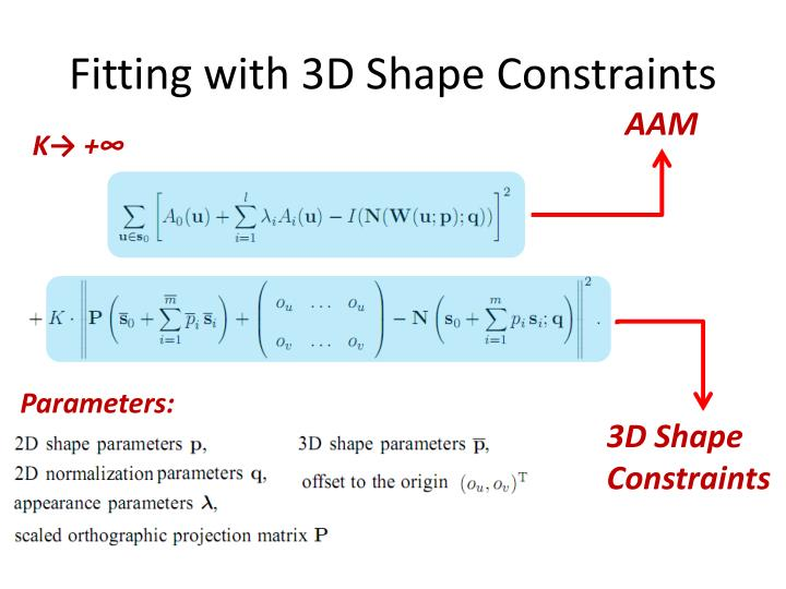 Fitting with 3D Shape Constraints