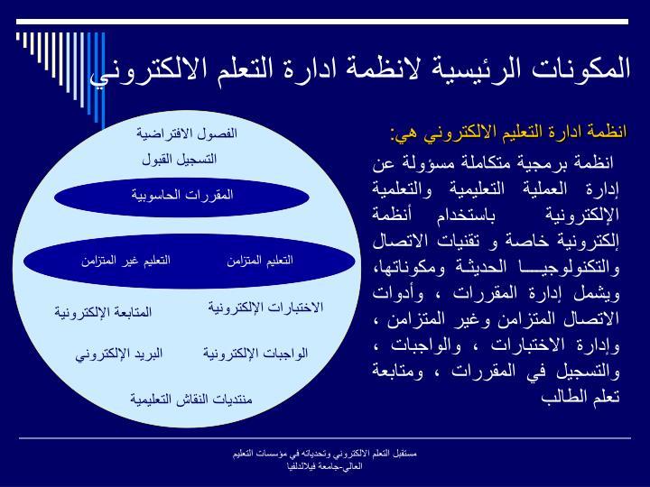 المكونات الرئيسية لانظمة ادارة التعلم الالكتروني