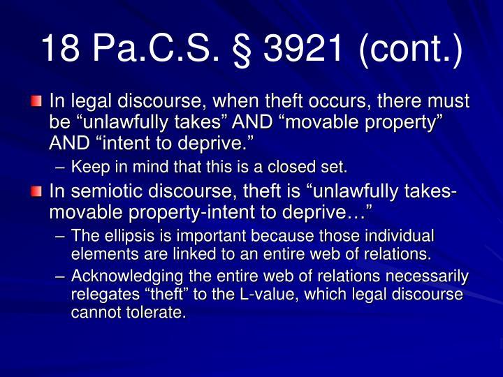 18 Pa.C.S. § 3921 (cont.)