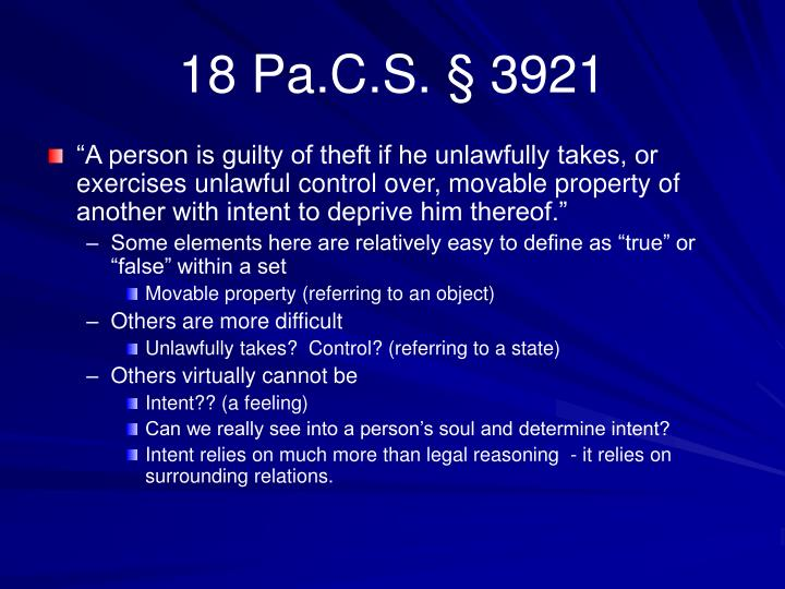 18 Pa.C.S. § 3921