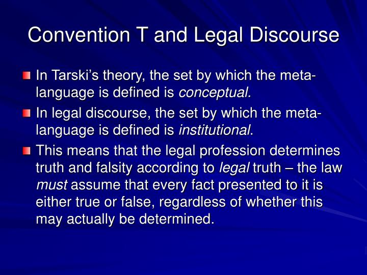 Convention T and Legal Discourse