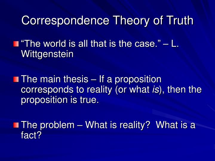 Correspondence Theory of Truth