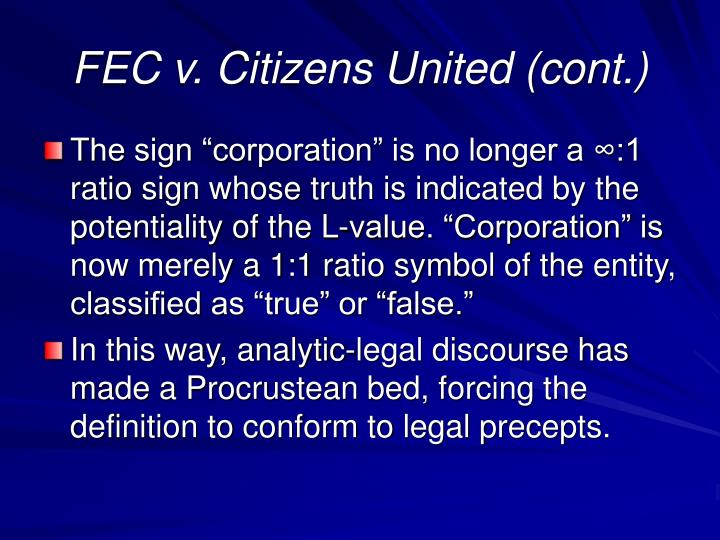 FEC v. Citizens United (cont.)
