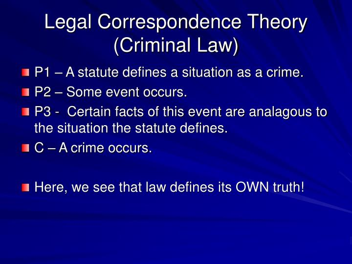 Legal Correspondence Theory (Criminal Law)