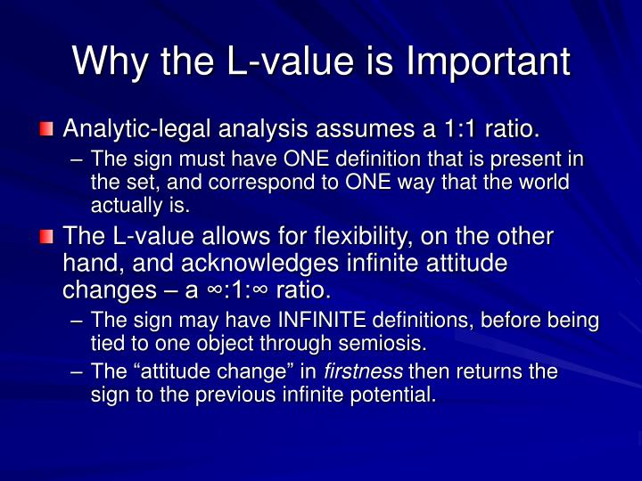 Why the L-value is Important