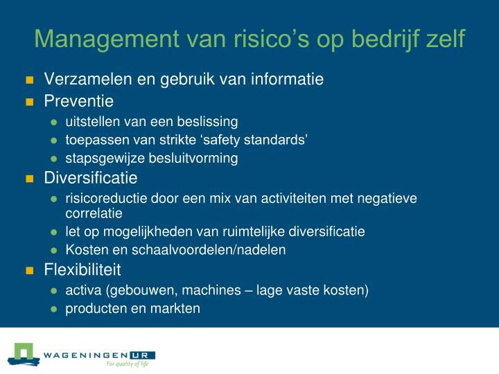 Management van risico's op bedrijf zelf