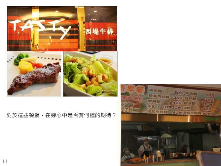 對於這些餐廳,在妳心中是否有何種的期待?