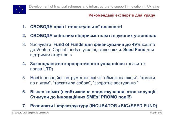 Рекомендації експертів для Уряду