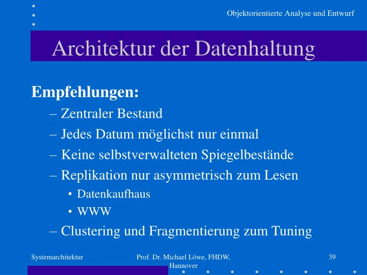 Architektur der Datenhaltung