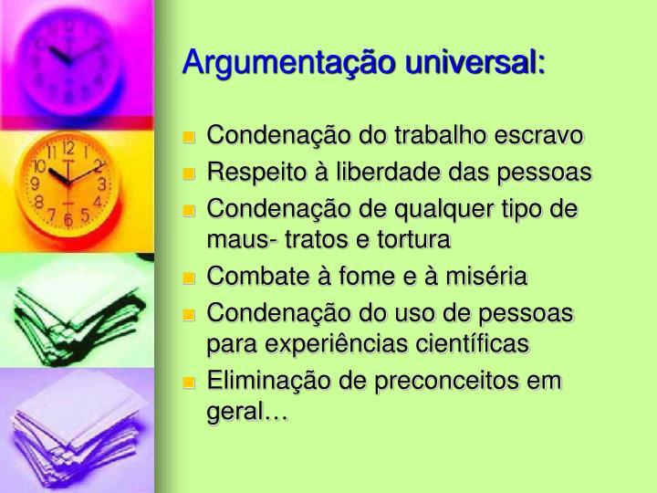 Argumentação universal: