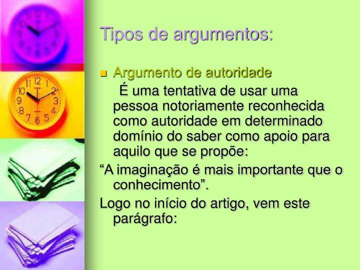 Tipos de argumentos: