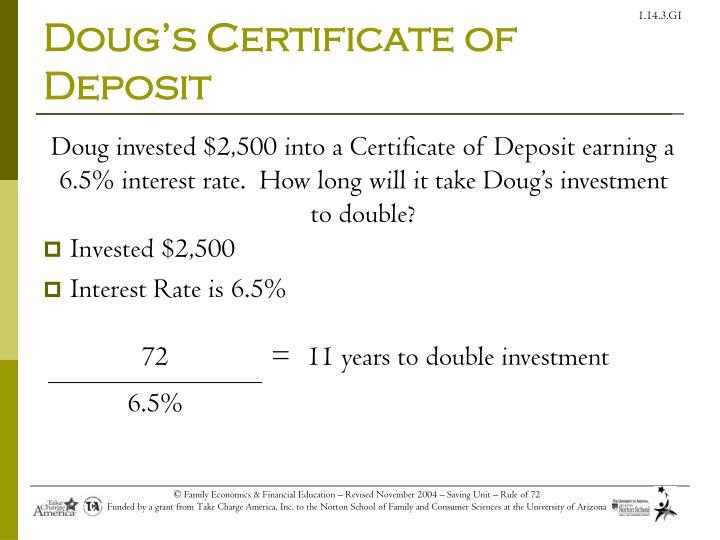 Doug's Certificate of Deposit