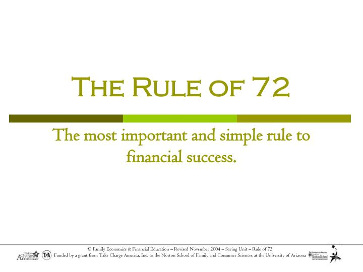 The rule of 72 the most important and simple rule to financial success