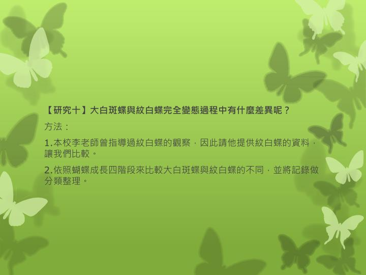 【研究十】大白斑蝶與紋白蝶完全變態過程中有什麼差異呢?