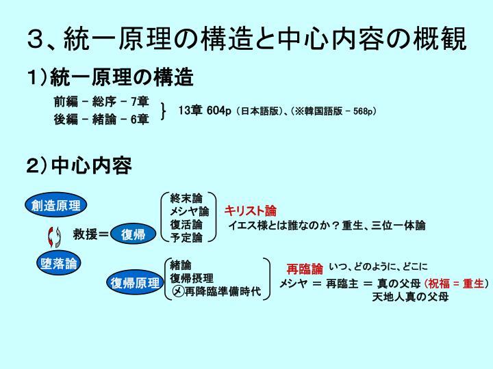 3、統一原理の構造と中心内容の概観