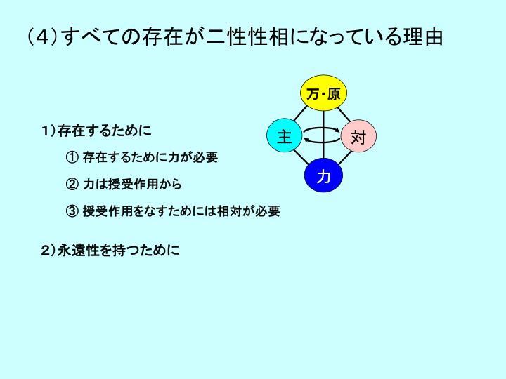 (4)すべての存在が二性性相になっている理由