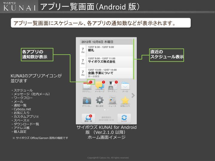 アプリ一覧画面(