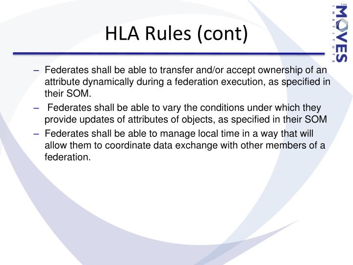HLA Rules (cont)