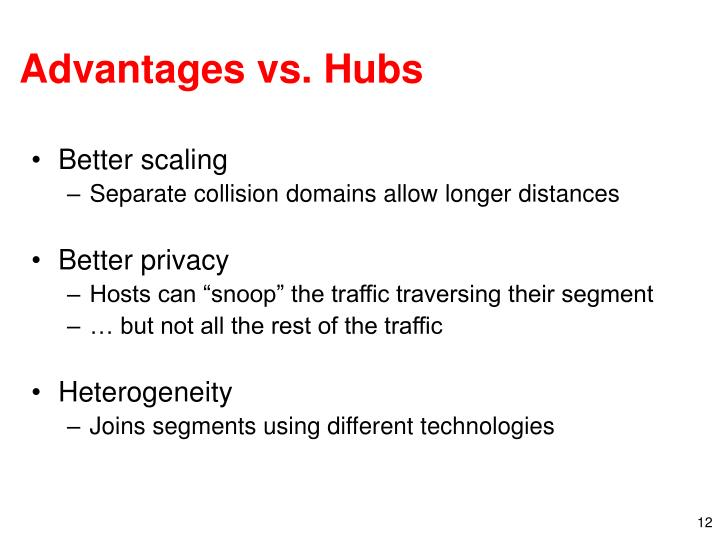 Advantages vs. Hubs