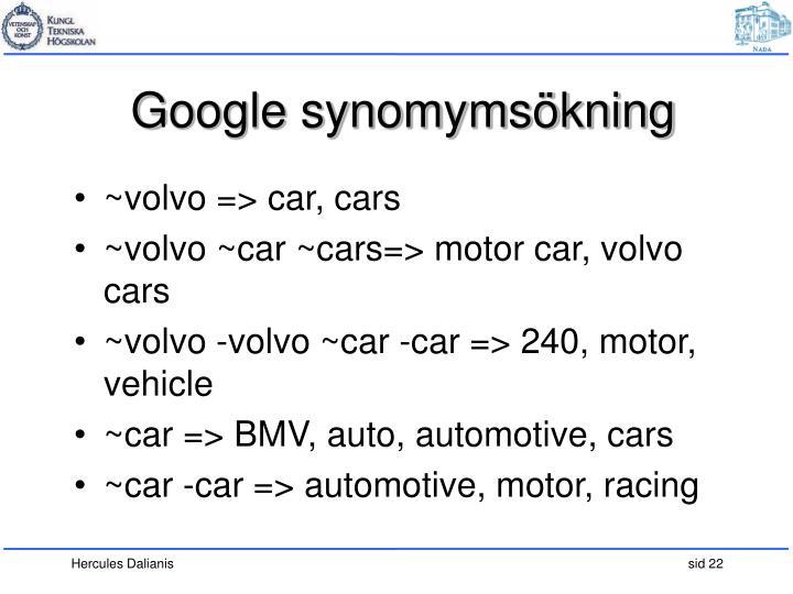 Google synomymsökning