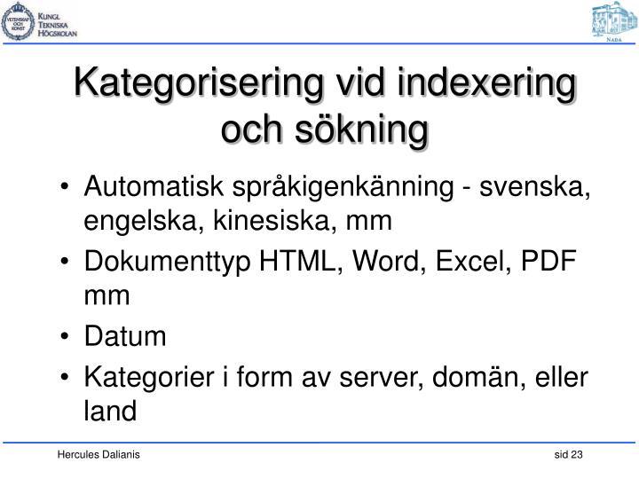 Kategorisering vid indexering