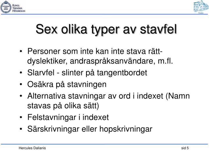 Sex olika typer av stavfel
