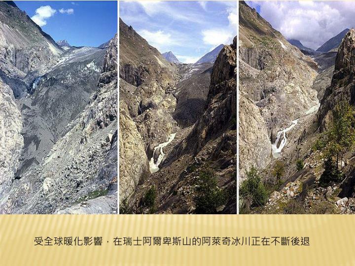 受全球暖化影響,在瑞士阿爾卑斯山的阿萊奇冰川正在不斷