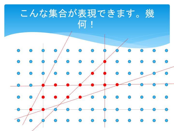 こんな集合が表現できます。幾何!