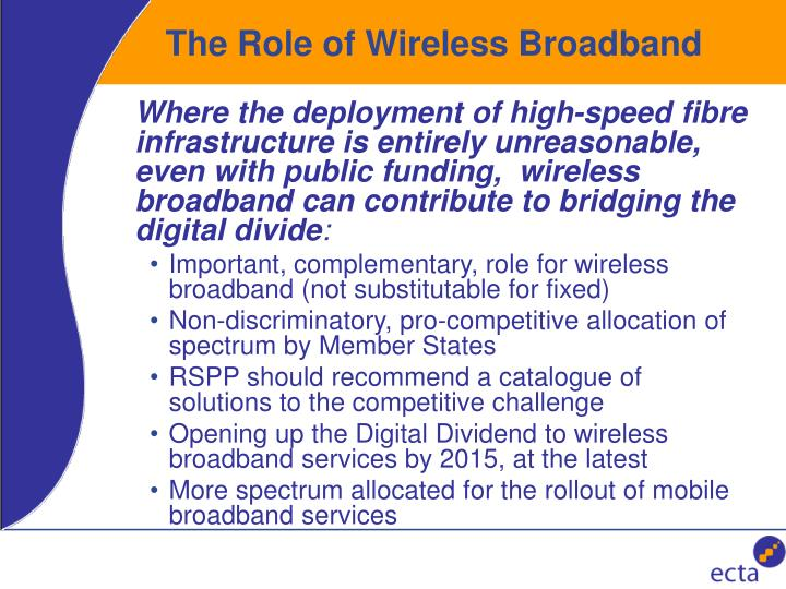 The Role of Wireless Broadband