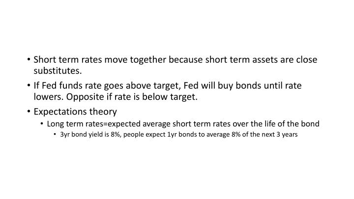 Short term rates move together because short term assets are close substitutes.
