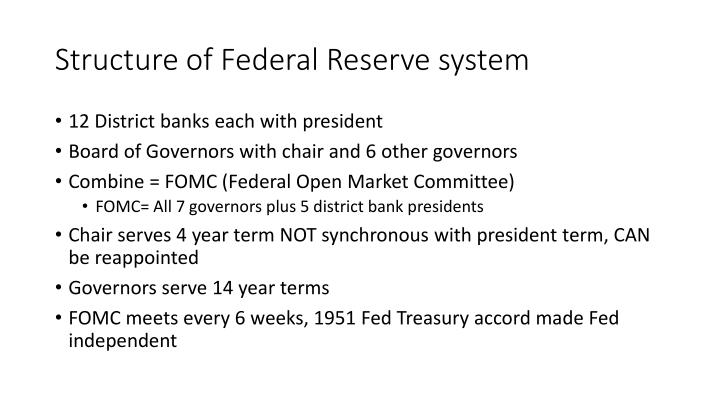 Structure of Federal Reserve system