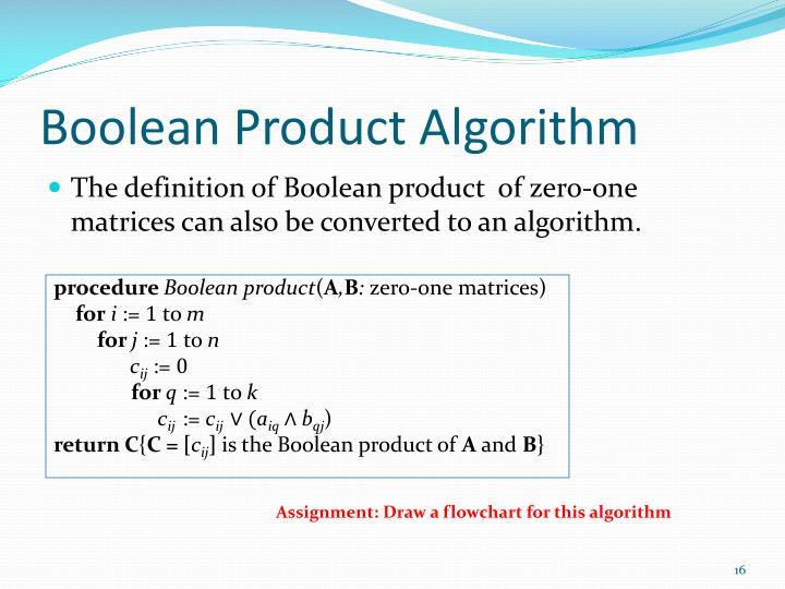Boolean Product Algorithm