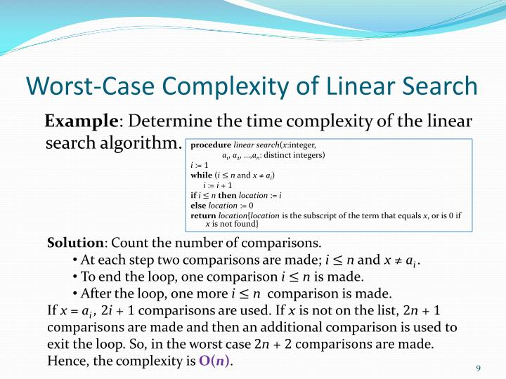 Worst-Case Complexity of Linear Search