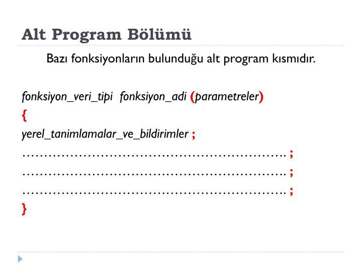 Alt Program Bölümü