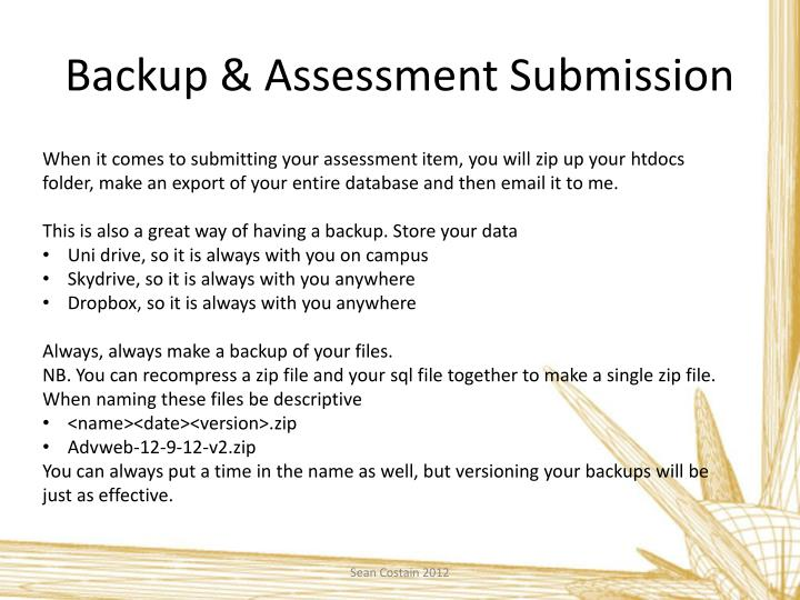 Backup & Assessment Submission