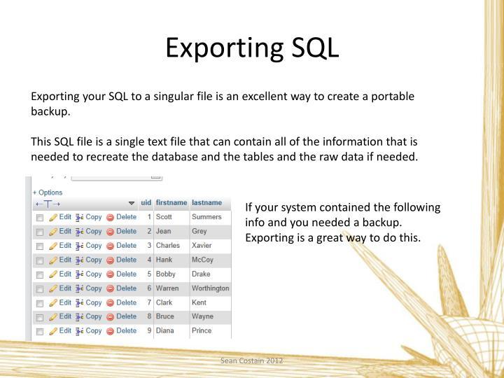 Exporting SQL