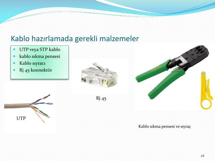 Kablo hazırlamada gerekli malzemeler