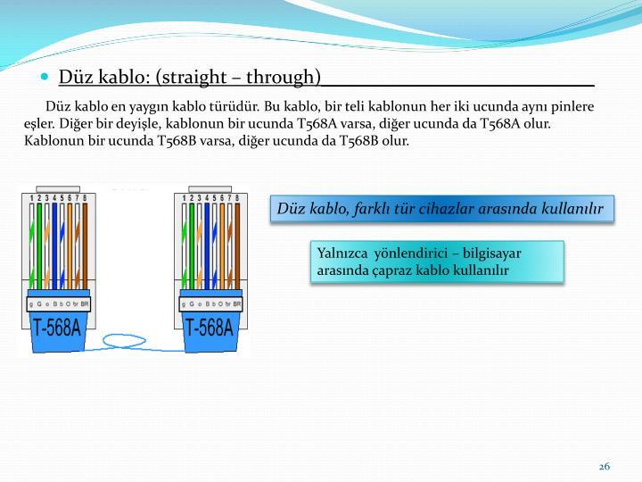Düz kablo en yaygın kablo türüdür. Bu kablo, bir teli kablonun her iki ucunda aynı pinlere eşler. Diğer bir deyişle, kablonun bir ucunda T568A varsa, diğer ucunda da T568A olur. Kablonun bir ucunda T568B varsa, diğer ucunda da T568B olur.