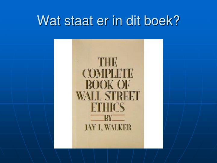 Wat staat er in dit boek?