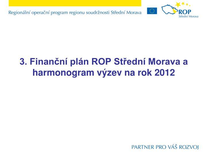 3. Finanční plán ROP Střední Morava a harmonogram výzev na rok 2012