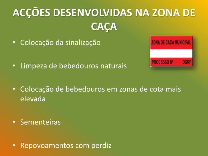 ACÇÕES DESENVOLVIDAS NA ZONA DE CAÇA