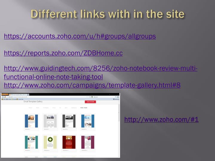 Different links with in the site