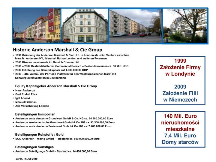 Historie Anderson Marshall & Cie Group