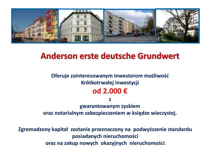 Anderson erste deutsche Grundwert