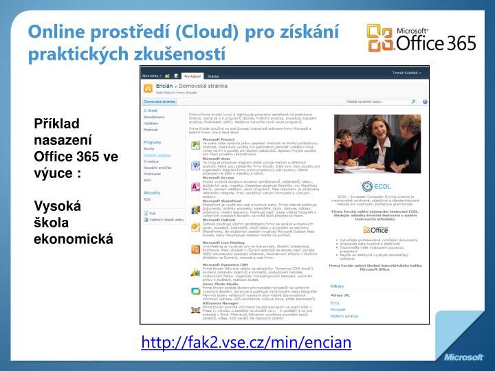 Online prostředí (Cloud) pro získání