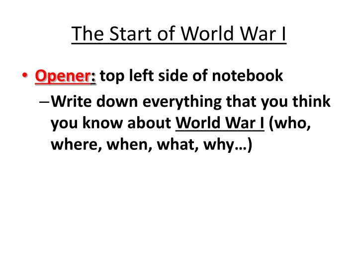 thesis statement for world war 1 and 2 A thesis statement: the subject, or topic, of an essay might be world war i or macbeth a thesis must then offer a way to understand the war or the play.