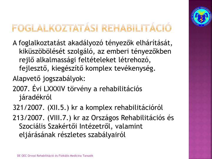 foglalkoztatási rehabilitáció